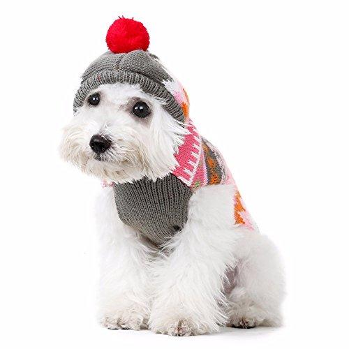 Amphia - Pullover für Hunde,Schneeflockenstrickjacke-Hundekleidung mit Kapuze - Haustier Hund Katze Striation Warm Mit Dicker Mantel Schneeflocken Mit Kapuze Pullover Kleidung(Rosa,XXL)