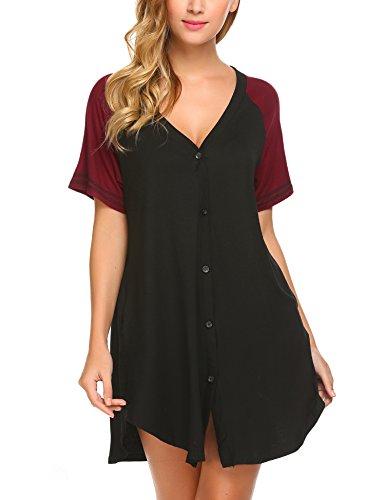 ADOME Nachthemd Damen Geburt Nachtwäsche Schwangere Schlafanzugoberteil Kurzarm Pyjama Schlafkleid Knopfleiste Schwarz