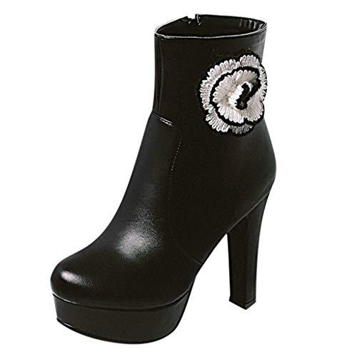 FeiBeauty Damen Schuhe Stiefel Seitlicher Reißverschluss Stiefeletten Wilde Damen Kurze Schuhe Blume eingelegte High Heels Schwarz Pink Weiß -
