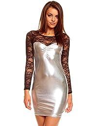 Metalliclook Minikleid Partykleid Discokleid Abendkleid mit Spitze