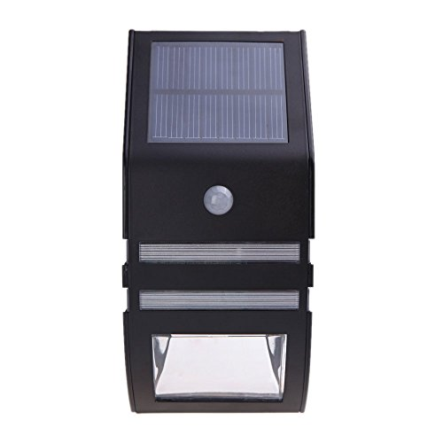Docooler Anself Solarbetriebene Licht mit 2 SMD LED Polykristallines Solarpanel PIR Sensor Aufladbare Wasserfeste umweltfreundliche Pathway Stair Step(Ohne Batterie)