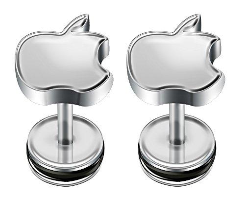 BlingBling GlitZ Unisex ein Paar (2 Stücke) von chirurgischem Stahl Fake Plugs mit Apfel Design 1.2mm