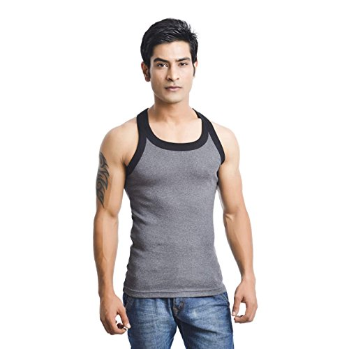 EURO Men's Cotton Vest (Pack Of 1) (GYM-BLACK-DARK_GREY) (Size:X-Small)  available at amazon for Rs.279