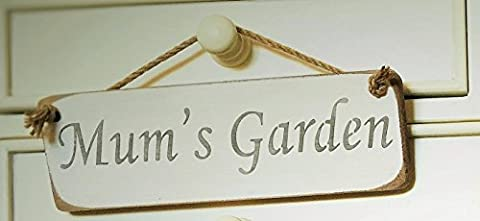 MUMS GARDEN SIGN - Mums Present Gift Hanging Solid Wood