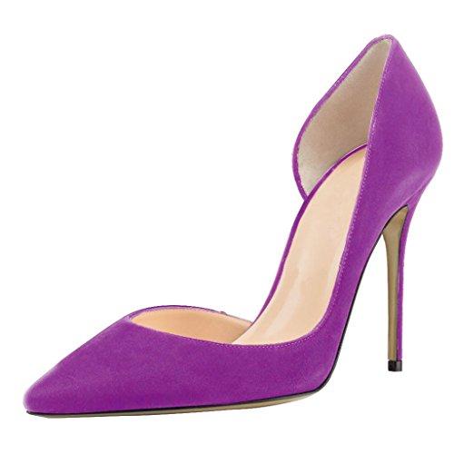 Kolnoo Damen Stiletto Spitz Zehen D'orsay High Heel Pumps Größe Violett