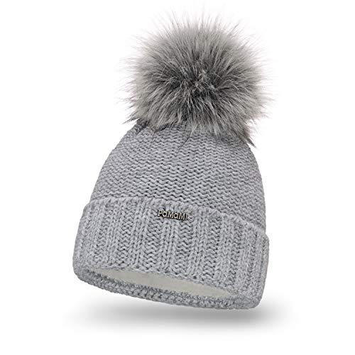 PaMaMi Damen Thermo Wintermütze | warme Strickmütze mit Bommel | Gestrickte weiche Bommelmütze | Slouch Beanie Hergestellt in EU | Farbenauswahl 18572 (Light Grey)