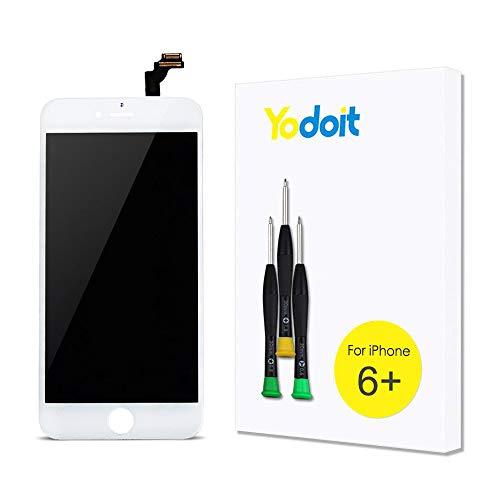 Yodoit LCD Touchscreen Digitizer Front Komplettes Glas Reparatur Display Weiß Ersatzbildschirm für iPhone 6 Plus mit Werkzeug - Iphone Plus Lcd Austausch 6