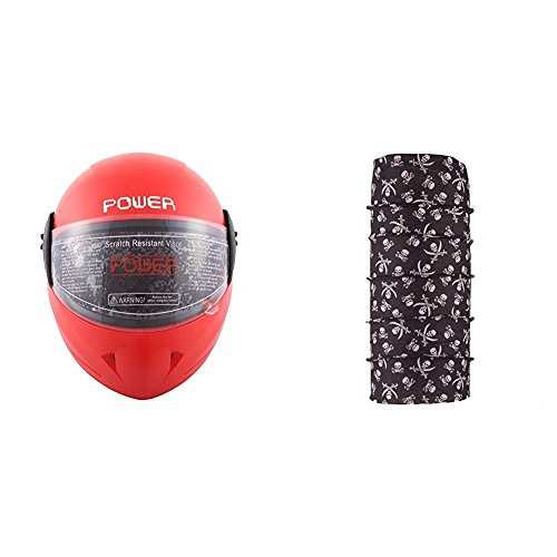 Autofy Power Full Face Helmet With Scratch Resistant Visor (Matte Red, M) and Autofy Pirate Skull Print Lycra Headwrap Bandana for Bikes (Black and White, Free Size) Bundle