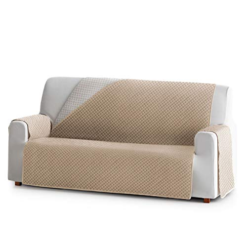 Innovaciones Roser Funda Cubre Sofá Práctica Modelo Reversible Brasilia, Color Beige, Medida 3 Plazas – 160cm de Respaldo