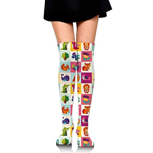 OQUYCZ Woman Big Colorful Set with Lovely Animals Birds and Flowers Artistic Ornamental Details Comfortable High Boot Socks