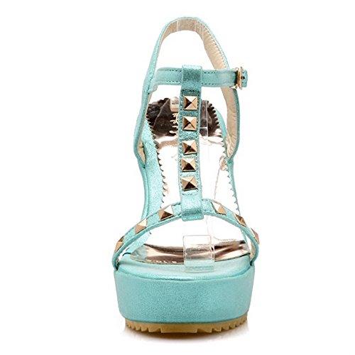 COOLCEPT Damen Mode T-Spangen Sandalen Open Toe Slingback Keilabsatz Schuhe Blau