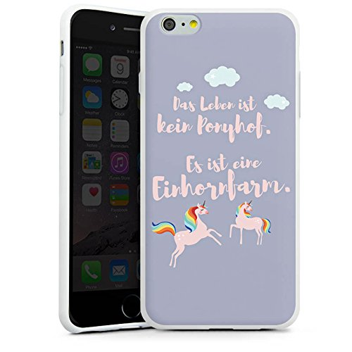 Apple iPhone X Silikon Hülle Case Schutzhülle Einhörner Spruch Ponyhof Silikon Case weiß