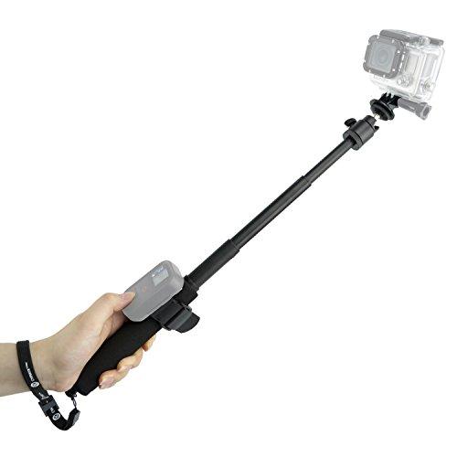 Asta per GoPro Camkix - Asta Telescopica regolabile con cinghie per telecomando Wifi - Si estende da 23 a 53 cm - Sistema 'Ruota e Blocca' Facile da estendere e ritrarre - Montatura per Cavalletto compatibile con GoPro Hero 4, 3+, 3, 2, 1 e altre telecamere - 1 Cinghia per Telecomando Wifi / 1 Cinghia da polso / 1 Cordino inclusi (Nero)
