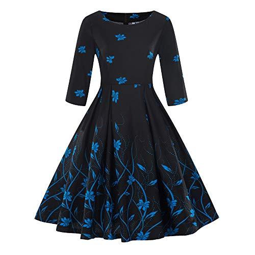 TEBAISE Damen 1950er Vintage Retro 3 4 Arm Rockabilly Kleid Abendkleid  Cocktailkleid geblümt Knielang Rockabilly Ballkleid Abend Party Dress für  Brautjunfer ... 669a798f74
