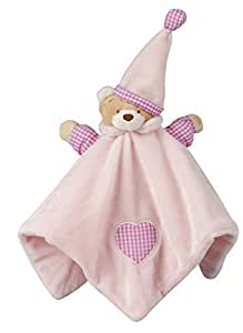 Newborn Baby Pink Blue Teddy Bear Comforter Puppet Soft Toy Gift Snuggle Blanket (PINK)