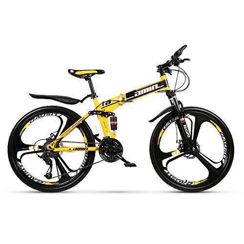 YuCar Mountainbike 24 Zoll 3-Speichen-Räder, Faltrad 21/24/27/30 Geschwindigkeiten Stahlrahmen Dual Suspension Offroad-Fahrrad,Yellow,27Speed