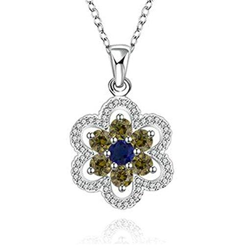 Schwarz Hall-baum (amdxd Jewelry Silber vergoldet Anhänger Ketten für Damen-Silber Blume Anhänger)
