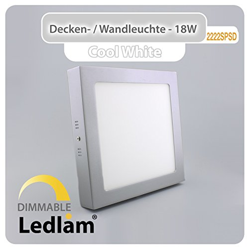 LED Deckenleuchte Wandleuchte silber quadratisch 22 * 22cm 18 Watt (120 Watt) 1440 Lumen 6000K kaltweiß dimmbar mit LED Dimmer, 220 Volt, Schutzklasse IP20, Abstrahlwinkel 120 Grad