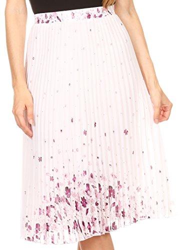 Sakkas Bianca jupe décontractée plissée à la taille élastique et doublure Blanc / Pourpre