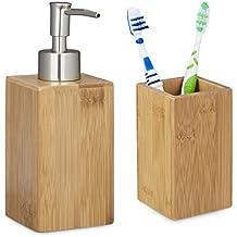 2 tlg Badutensilien Set aus Bambus, Zahnputzbecher, Seifenspender manuell, Lotionspender, natur