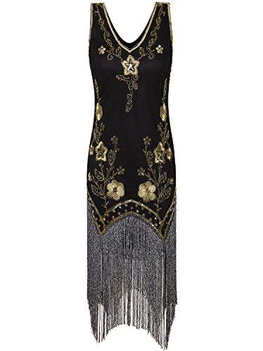 (Vijiv Damen Vintage Flapper Kleider 1920er Kostüm vollen langen Fransen Gatsby Cocktailkleid m/uk10-12/eu38-40 schwarzes gold)