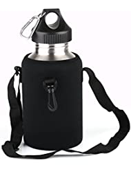 VERY100 2000ml Botella Deportiva de Acero Inoxidable+Funda Impermeable para Ciclismo
