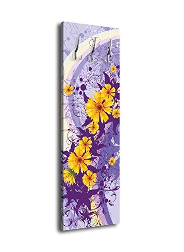 wandmotiv24 Garderobe mit Design Franziska G064 40x125cm Wandgarderobe Style Blüten Lila