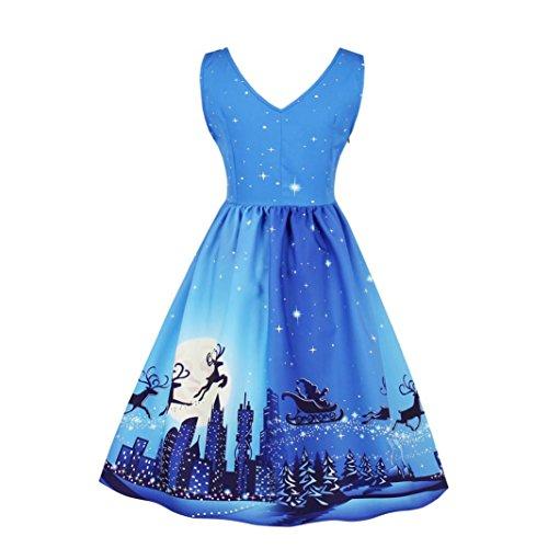 Weihnachtskleid Damen Plus Size Kleid Druck Spitze Pin Up Swing Lace Party Panel Vintage Xmas Swing Skater Kleid LuckyGirls (4, S)