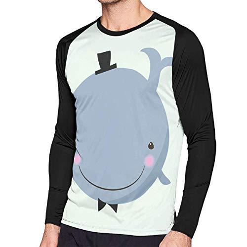 Herren Langarm Classic T-Shirt, Men's Casual A Whale with A Hat Long Reglan Jersey Baseball T-Shirt -