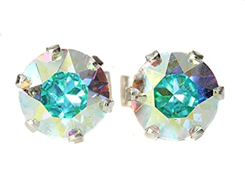 6mm Rainbow Crystal (AB) Stud Earrings Made With Sterling Silver and Swarovski Crystals by Black Moon
