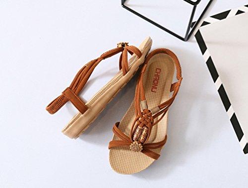 YOUJIA Frauen Casual Peep-Toe Flache Schuhe Römische Slingback Flip Flops Sommer Sandalen Braun