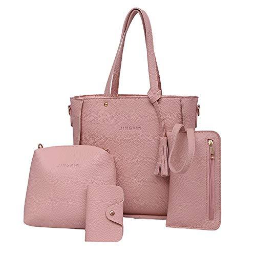 YWLINK Damen Elegant Klassisch Handtasche Schultertaschen Tragetasche Schultertaschen Wallet Bankkarte Tasche Vier StüCke(Rosa) -