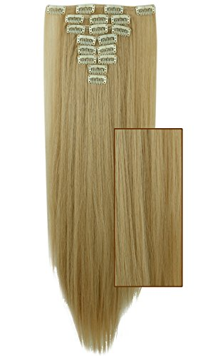 58cm extension biondo scuro mix biondo chiarissimo clip in hair estensioni capelli lunghi lisci testa piena 8 fasce effetto naturale
