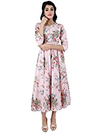 ANAYNA Women's Cotton Printed Anarkali Long Kurta With Umbrella Cut(Pink)