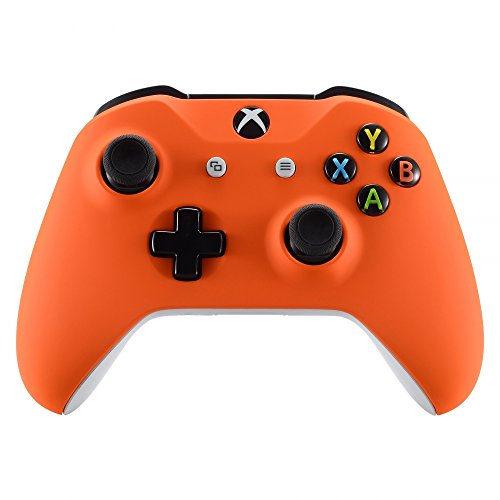 eXtremeRate® Naranja Cubierta de la Placa Frontal,Soft Touch Front Housing Shell Case, Comfortable Soft Grip Replacement Kit for Xbox One S Controller