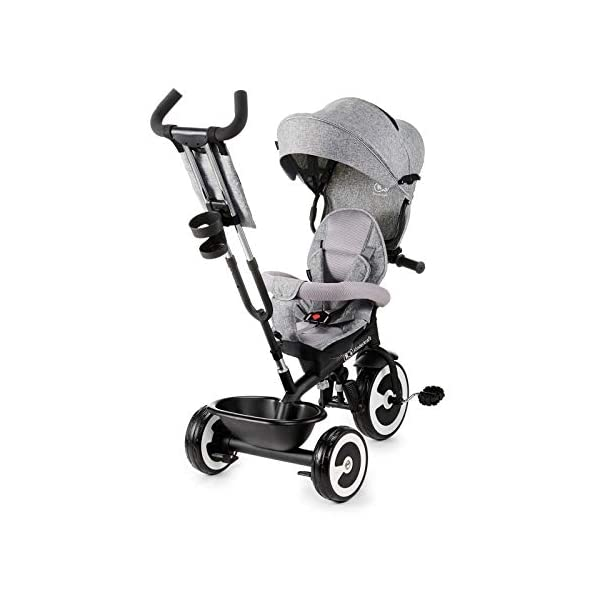 Kinderkraft Aston KKRASTOGRY0000 Tricycle with Accessories in 3 Colours Grey kk KinderKraft Five point safety straps for the shoulders and an additional strap between the legs to protect the child from falling out A mechanism that connects the parent handlebar with the child's handlebar so that parents can have full control over the bike guidance when required. Free-wheel that causes the child to rmble freely regardless of the person who leads the bike 3