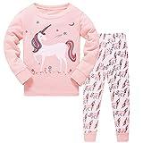 DAWILS Mädchen Schlafanzug Rosa Langarm Zweiteiliger Schlafanzug Kinder Herbst Winter Bekleidung Nachtwäsche Pyjama Set 128