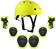 Lixada Kids 7 in 1 Helmet and Pads Set Adjustable Kids Knee Pads Elbow Pads Wrist Guards for Scooter Skateboar