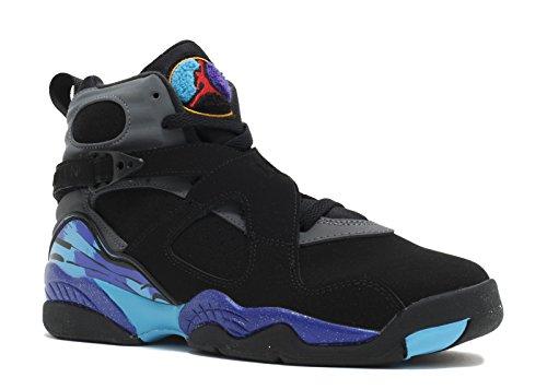 Nike Jungen Air Jordan 8 Retro BG Turnschuhe, Schwarz/Blau/Grau (Blck/Gry Tr RD-Flnt-Brght Azng), 40 EU