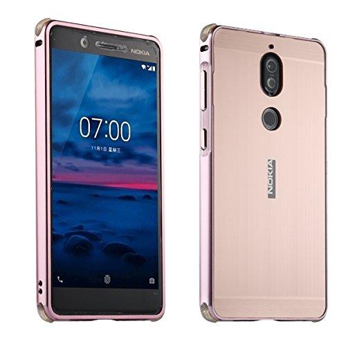 Nokia 7 UltraSlim Case Premium Aluminium Schutzhülle Rahmen für Nokia 7, Rose