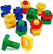 لعبة تعليمية براغي وعزق بلاستيك فك وتركيب ، برم وتدوير ميكانو