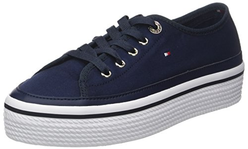 Tommy Hilfiger Damen Corporate Flatform Sneaker Blau (Tommy Navy 406) 40 EU