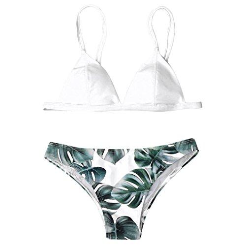 IMJONO.Frauen Bademode Bikini Set Print Blätter Push-Up gepolsterte Bade Badeanzug Beachwear(Weiß,X-Large)