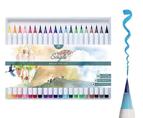 MozArt Supplies Set Penne Colorate Con Vera Punta A Pennello Morbida - Penne Da Disegno In 20 Colori - Ideali Per Fumetti, Manga, Lettering E Calligrafia - Brush Pen Acquerellabili