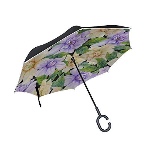 Elegante duftende Gardenia Doppelschicht faltender Anti Uv Schutz winddichter Regen gerade Autos Golf umgekehrter umgekehrter Regenschirm Stand mit C förmigem Griff -