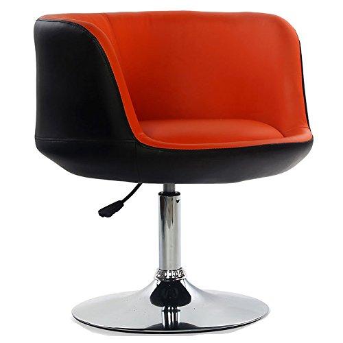 MENA Uk Moderne PU Leder Computer Stuhl Barhocker, 360 Grad Rotary, Stuhl Höhe verstellbar von 42 bis 58 cm (Farbe : Black+orange, größe : 64cmX64cmX36cm) - Nh Swivel