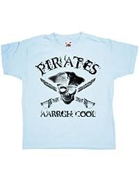 Refugeek Tees - Enfants Pirates Aarrgh Cool T Shirt - 9-11 years - Light blue
