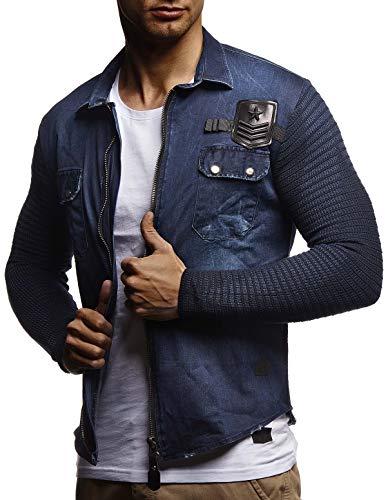LEIF NELSON Herren Strick-Jacke-Hemd| Vintage Jeans-Hemd für Männer Slim-Fit Langarm | Freizeit Jacke-Hemd Verwaschen Casual LN3550; Größe L, Blau