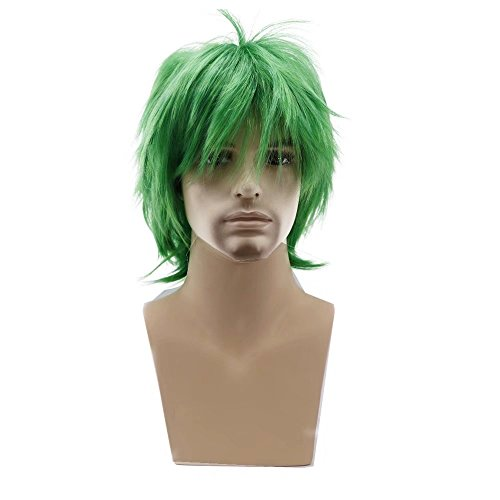 COSPLAZA Perücke Men Short Fluffy Hair Anime Cosplay Wigs Party Dress Costume Full Hair Mixed Green