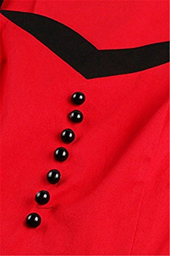 Tailloday Damen Vintage 1950er Jahre Frühling Rockabilly Kleider Swing Tanzkleider Faltenrock Abendkleider Mit Schleife Schwarz+Rot